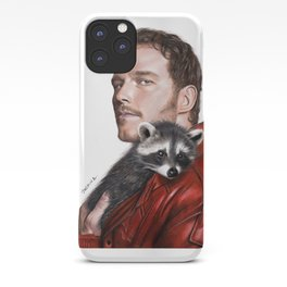 Drawing of Star-Lord and Baby Raccoon iPhone Case