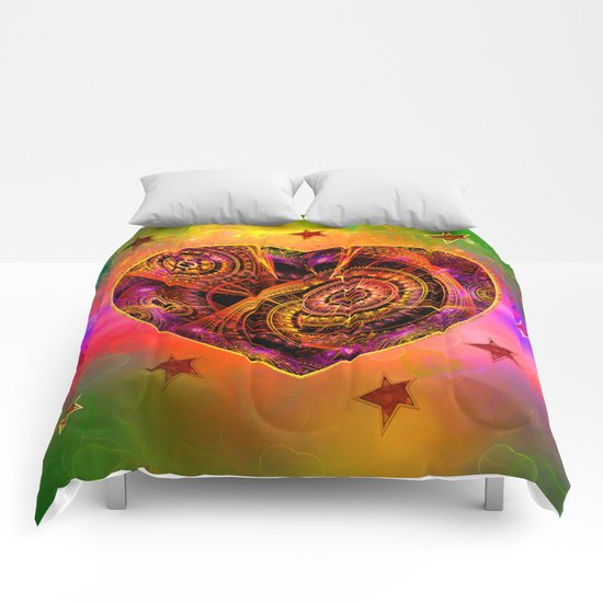 Colourful magical heart with tribal patterns Comforters