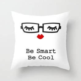 black and white eyelashes, red lips and eyeglasses Throw Pillow