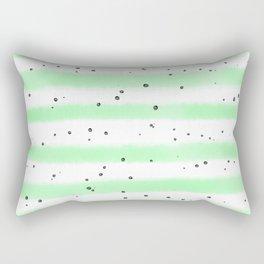 Green white black watercolor hand painted stripes splatters Rectangular Pillow