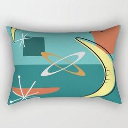 Turquoise Atomic Era Space Age Rectangular Pillow