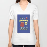 fez V-neck T-shirts featuring I Wear A Fez Now by Posters 4 Progress