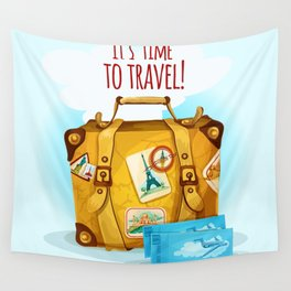 Travel Concept With Suitcase Wall Tapestry