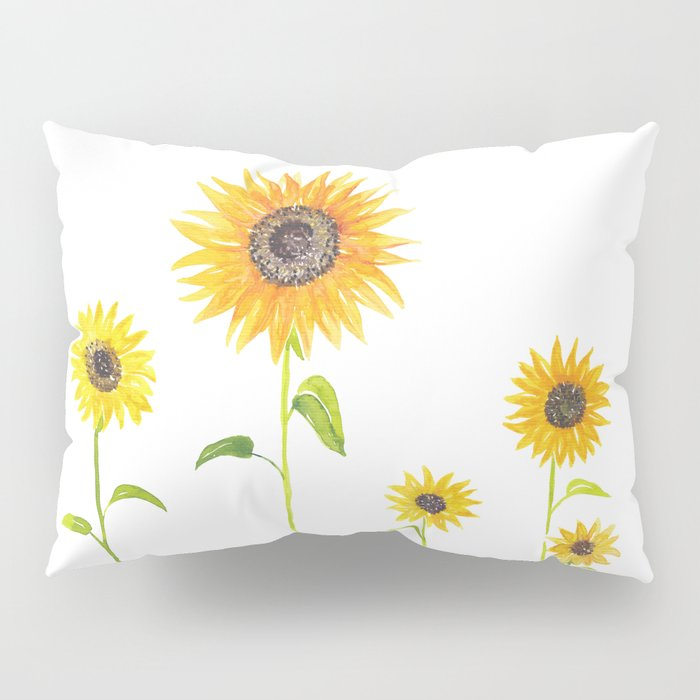 Sunflowers Watercolor Painting Pillow Sham