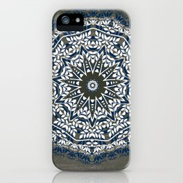 BLUE, GREY AND WHITE MANDALA  iPhone Case