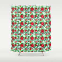 Christmas Poinsettia Rose Holly Floral, red rose, holly, holiday flowers, christmas flowers, holiday Shower Curtain