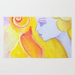 Lady Autumn Watercolor Art Nouveau Gold Rug