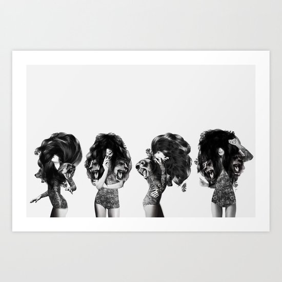 Lions And Bears Party Art Print