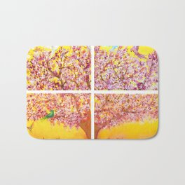 Paradise Tree, quadriptych, birds Bath Mat