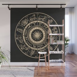 Vintage Zodiac & Astrology Chart | Charcoal & Gold Wall Mural