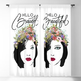 Hello Beautiful Woman and Flower Crown Blackout Curtain