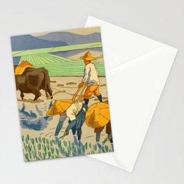 Asano Takeji Rice Transplantation Vintage Japanese Woodblock Print Asian Farmers Sedge Hat Stationery Cards