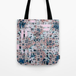 Pink and Blue Modern Geometric and Animal Print Pattern Tote Bag