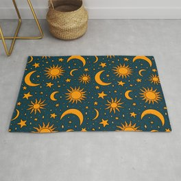 Vintage Sun and Star Print in Navy Rug