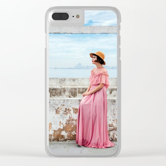 Woman in pink Clear iPhone Case