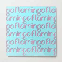 flamingo flamingo flamingo // pink + blue Metal Print