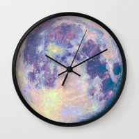 sun and moon Wall Clocks featuring Moon by Marta Olga Klara