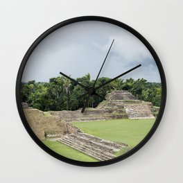 Altun Ha Mayan Ruins in the tropical jungle of Belize Wall Clock