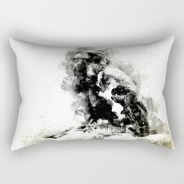 Watercolor Crow, Black and White Crow, Crow Painting, Cool Crow, Ink Crow Rectangular Pillow