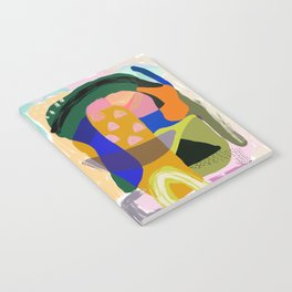 Shapes and Layers no.20 - Abstract painting olive green blue orange black Notebook
