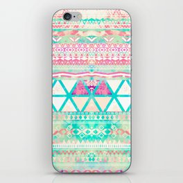 Pink Teal Aztec Pattern Triangles Girly Watercolor iPhone Skin