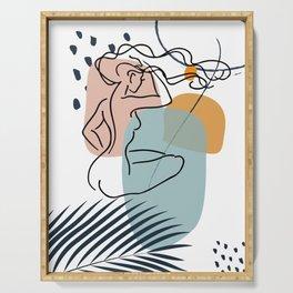 Nude Woman Line Art Print, Fine Line Body Poster, Female Form Wall Art, Female Body Artwork Serving Tray