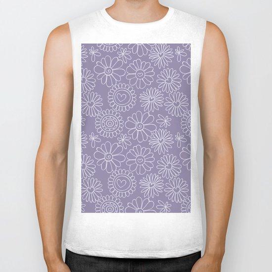 Violet doodle floral pattern Biker Tank