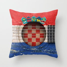 Old Vintage Acoustic Guitar with Croatian Flag Throw Pillow