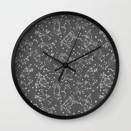 Constellations animal constellations stars outer space night sky pattern by andrea lauren grey Wall Clock