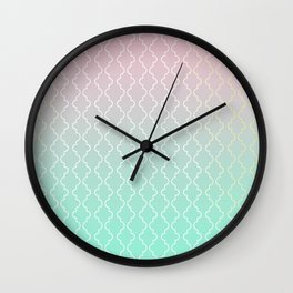 Moroccan pattern with mint, pink and gold Wall Clock