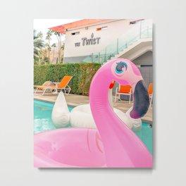 Pink Flamingo Pool Floatie at The Twist Metal Print
