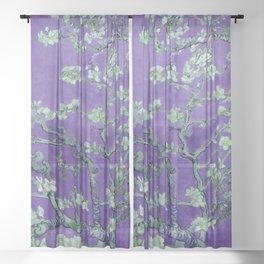 "Vincent van Gogh ""Almond Blossoms"" (edited purple) Sheer Curtain"