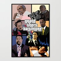 grand theft auto Canvas Prints featuring Grand Theft Baltimore - The Wire meets Grand Theft Auto by rydrew