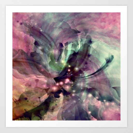 Mauve Swirl Abstract Art Print