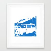 volkswagon Framed Art Prints featuring Stellar Ride into the Blue by Dawn Marie