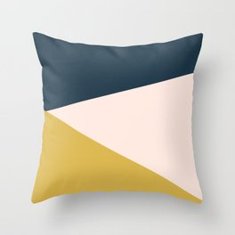 Jag 2. Minimalist Angled Color Block in Navy Blue, Blush Pink, and Mustard Yellow Throw Pillow