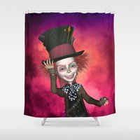 mad hatter Shower Curtains featuring Mad Hatter by apgme