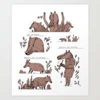badger Art Prints featuring badger by Jon Boam