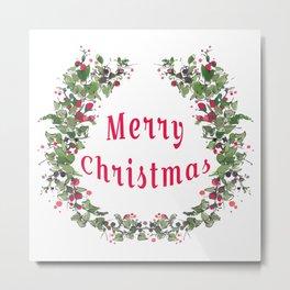 Merry Christmas Flower Wreath Metal Print