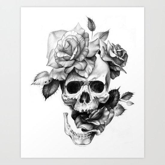 black and white skull and roses art print by sarachnid