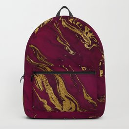 Marsala Marble and Gold Foil Backpack