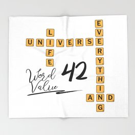Life Universe and Everything Scrabble 42 Throw Blanket