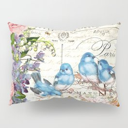 Vintage Postcard with Bluebirds Pillow Sham