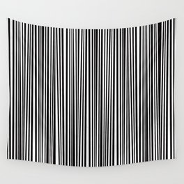 Simply small black and white handrawn stripes - vertical - Mix & Match with Simplicty of life Wall Tapestry