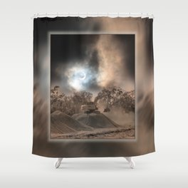 Heavy Duty Earthworks During An Eclipse Shower Curtain