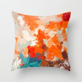 Pleasure, Abstract Brush Strokes Summer Painting, Pop of Color Bright Throw Pillow