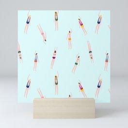 Swimmers in the pool Mini Art Print