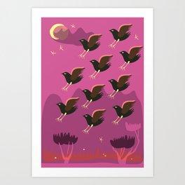 Birds are landing  Art Print