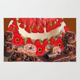 CAKE & STRAWBERRIES PINK FROSTED DONUTS BIRTHDAY Rug