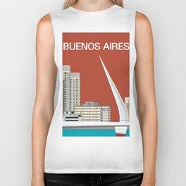 Buenos Aires, Argentina - Skyline Illustration by Loose Petals Biker Tank